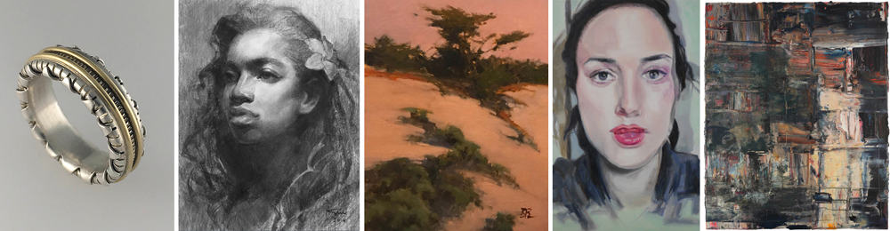 """Left to right: """"Groovy Texture,"""" by David Casella, 18K yellow gold, silver; """"Tendai,"""" by Oliver Sin, vine charcoal on paper; """"Dunes at Sunset,"""" by Brian Blood, oil on board; """"Inside a Dream,"""" by Kristen Brown, oil on panel; """"Foggy Summer SF,"""" by Carolyn Meyer, oil on canvas"""