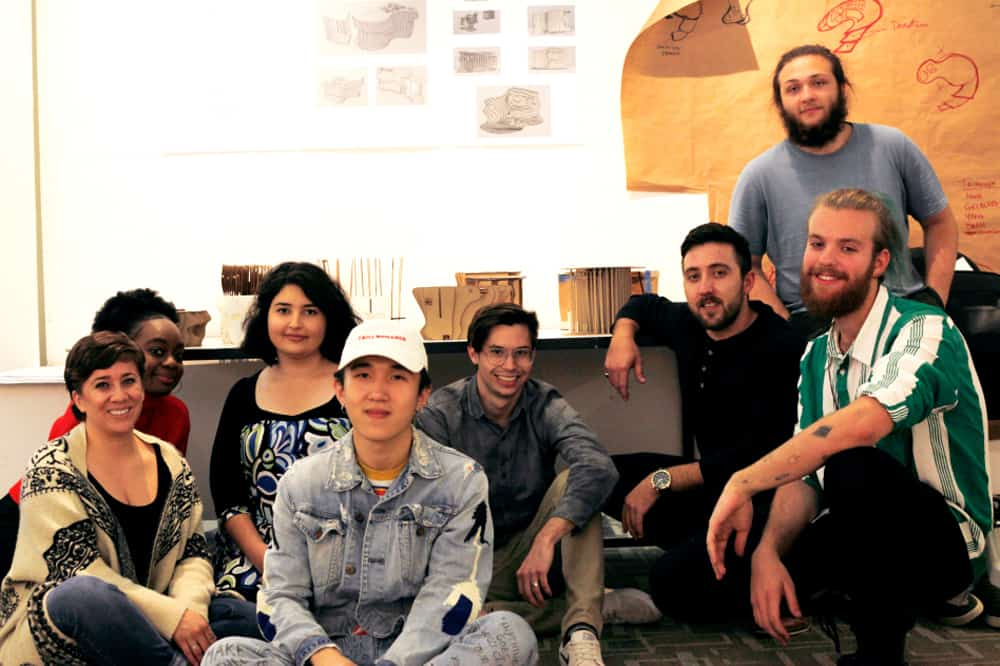 School of Architecture students who worked on housing for the homeless project: (back, L–R) Christina Smith, Annie Mulowayi, Shadi Vakilian, Qiyang Xu, Kyle Lanzer, Cristo Staedler, Mateo Sperry, (front) Artur Festugato Regalin. Photo by Erasmo Guerra.