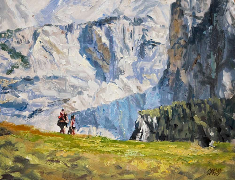 """""""A Dolomite Outing,"""" oil on canvas, by Craig Nelson"""