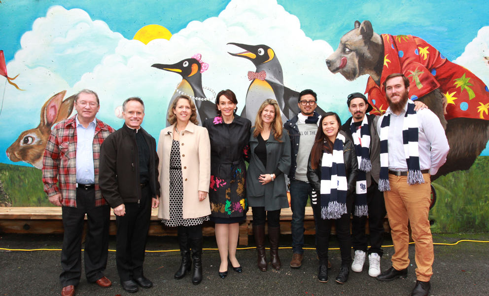 Academy Students Brighten St. Brigid School with an Inspiring Mural