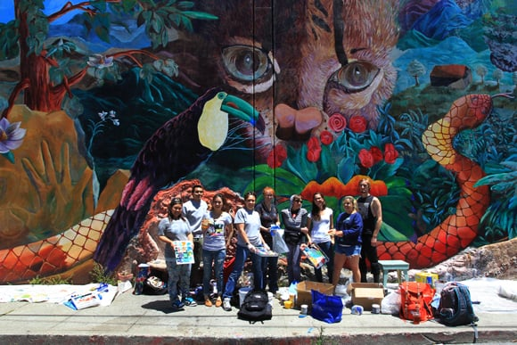 urban Jungle Mural Finished with Students
